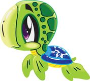 Turtle - Cute sea life cartoon collection under water animal characters stock illustration