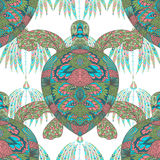 Turtle decorated with floral ornaments. Vintage colorful seamless pattern. Stock Photos