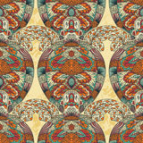 Turtle decorated with floral ornaments. Vintage colorful seamless pattern. Stock Photography