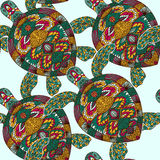 Turtle decorated with floral ornaments. Vintage colorful seamless pattern. Royalty Free Stock Photo