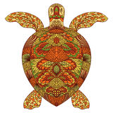 Turtle decorated with oriental ornaments. Hand drawn vector illustration Royalty Free Stock Image