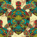 Turtle decorated with oriental ornaments. Vintage colorful seamless pattern. Stock Images
