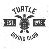 Turtle diving club. Vector illustration. Stock Photography