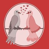 Turtle doves. Illustration of turtle doves in love with pink background Royalty Free Stock Photos