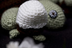Turtle in an egg. Crocheted baby turtle is partially hatched stock photography