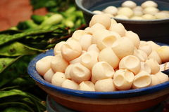 Turtle Eggs. A plate of turtle eggs being displayed at a local wet market. Some local authorities have banned the sales of the eggs Stock Photos