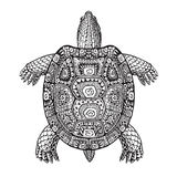 Turtle ethnic graphic style with decorative patterns. Vector illustration Stock Images