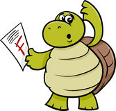 Turtle with f mark cartoon illustration Stock Photo