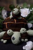 Turtle Family. Family of crocheted turtles with 3 baby turtles royalty free stock images