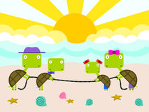A turtle family vacation royalty free illustration