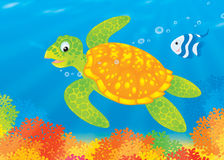Turtle and fish over a coral reef. Illustration of a loggerhead turtle and striped coral fish swimming over a colorful coral reef at the bottom of a tropical sea Royalty Free Stock Photos