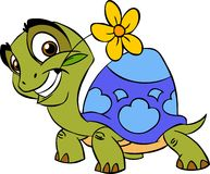 Turtle with a flower stock images