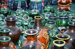 Bottles and Flower Vase Royalty Free Stock Photos