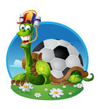 Turtle - football fan. Vector turtle football fan on color background Royalty Free Stock Image