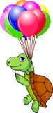 Turtle fying with balloon Royalty Free Stock Photography