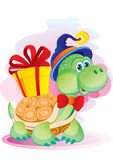 Turtle with a gift Royalty Free Stock Image
