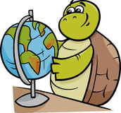 Turtle with globe cartoon illustration Stock Images
