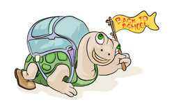 Turtle go to school. Illustration for new education season, turtle go to school Royalty Free Stock Photos