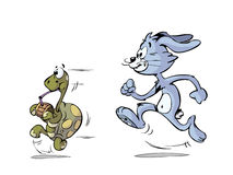 Turtle and hare running Stock Photo