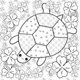 Turtle Heaven adult coloring book page. Turtle in clover garden colouring page. Royalty Free Stock Image