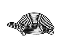 A turtle illustration icon in black offset line. Fingerprint sty. Le for logo or background design Stock Photos