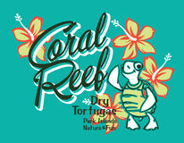 Turtle island coral reef. Vector artwork for summer kids wear in custom colors Royalty Free Stock Image