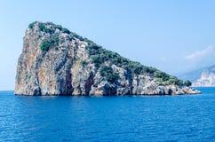 Turtle island off the coast of Antalya in the Mediterranean sea Stock Photo