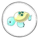 Turtle isolated on white background. Sea turtle cartoon illustration. stock illustration