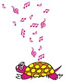 Turtle listening music. Vectorized drawing of a turtle having a headset and listening to music. Pink and funky with music notes Stock Photography