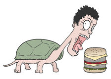 Turtle man and burger. Creative design of turtle man and burger Stock Photography