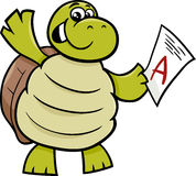 Turtle with a mark cartoon illustration Royalty Free Stock Photography