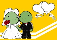 Turtle married cartoon background Stock Images