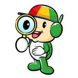 Turtle mascot examine a with a magnifying glass. Traffic and Roa Royalty Free Stock Photography
