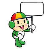 The Turtle mascot holding a board. Traffic and Road Character De Stock Image