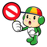Turtle mascot holding a traffic signal is prohibited signs. Traf Royalty Free Stock Photos