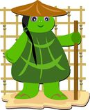 Turtle Monk with a Stick Royalty Free Stock Images