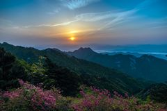 Turtle Mountain Sunrise. Guifeng Mountain Scenic Area is located in the middle part of the Dabie Mountains, a hundred kilometers from Wuhan and 21 kilometers stock photography