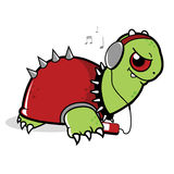 Turtle listening to music. A turtle listening to music with headphones Royalty Free Stock Images