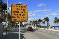 Turtle Nesting Sign Royalty Free Stock Images