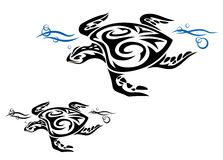 Turtle in ocean water. In tribal style for tattoo design Royalty Free Stock Image