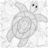 Turtle in ocean waves, zentangle style.. Freehand sketch for adult coloring page, doodle elements. Ornamental artistic vector illustration for tattoo, t-shirt Stock Photography