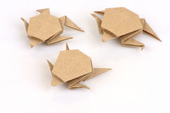 Turtle with old paper folding. Stock Image
