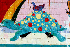 Turtle Painted on a Wall Stock Photo