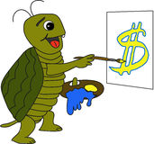 Turtle painting dollars Royalty Free Stock Photography