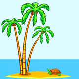 Turtle and palms Royalty Free Stock Photography