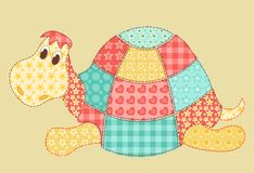 Turtle patchwork. Childrens application. Turtle. Patchwork series. Cartoon illustration Royalty Free Stock Photography