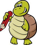 Turtle with pencil cartoon illustration Royalty Free Stock Photo