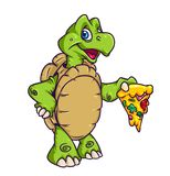 Turtle pizza cartoon illustration Royalty Free Stock Photography