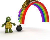 Turtle with pot of gold at the end of the rainbow Royalty Free Stock Image