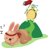 Turtle and rabbit running a race Royalty Free Stock Images